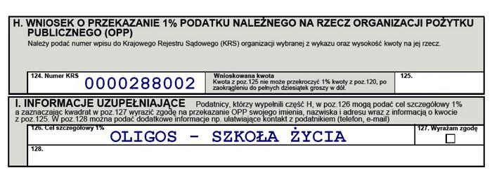 Fragment formularza PIT 37 dotyczący 1%.