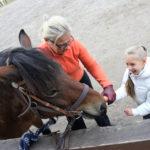 Dziewczynka wraz z terapeutą podczas karmienia konia marchewką.