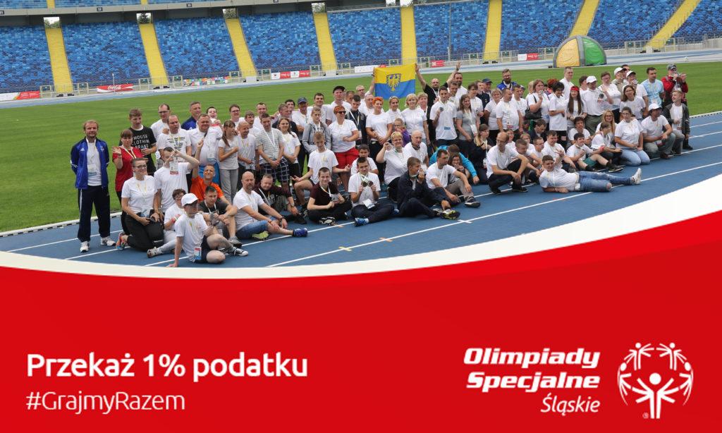 Sportowcy Olimpiad Specjalnych, logo stowarzyszenia i napis 1%.