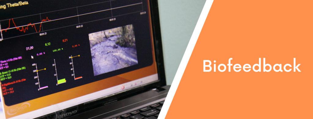 Ekran notebooka z zapisem fal elektromagnetycznych oraz napis biofeedback.