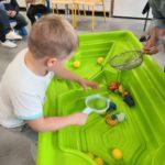 Przedszkolak podczas tematycznego zadania koordynacyjnego - łowienia piłek za pomocą sitka.