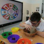 Uczeń podczas ćwiczenia logopedycznego (z wykorzystaniem segregowania darów jesieni).
