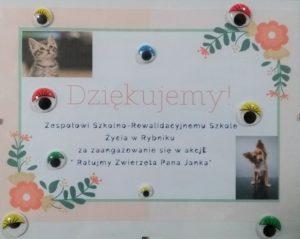 """Podziękowanie dla placówki za udział w akacji: """"Ratujmy Zwierzęta Pana Janka""""."""