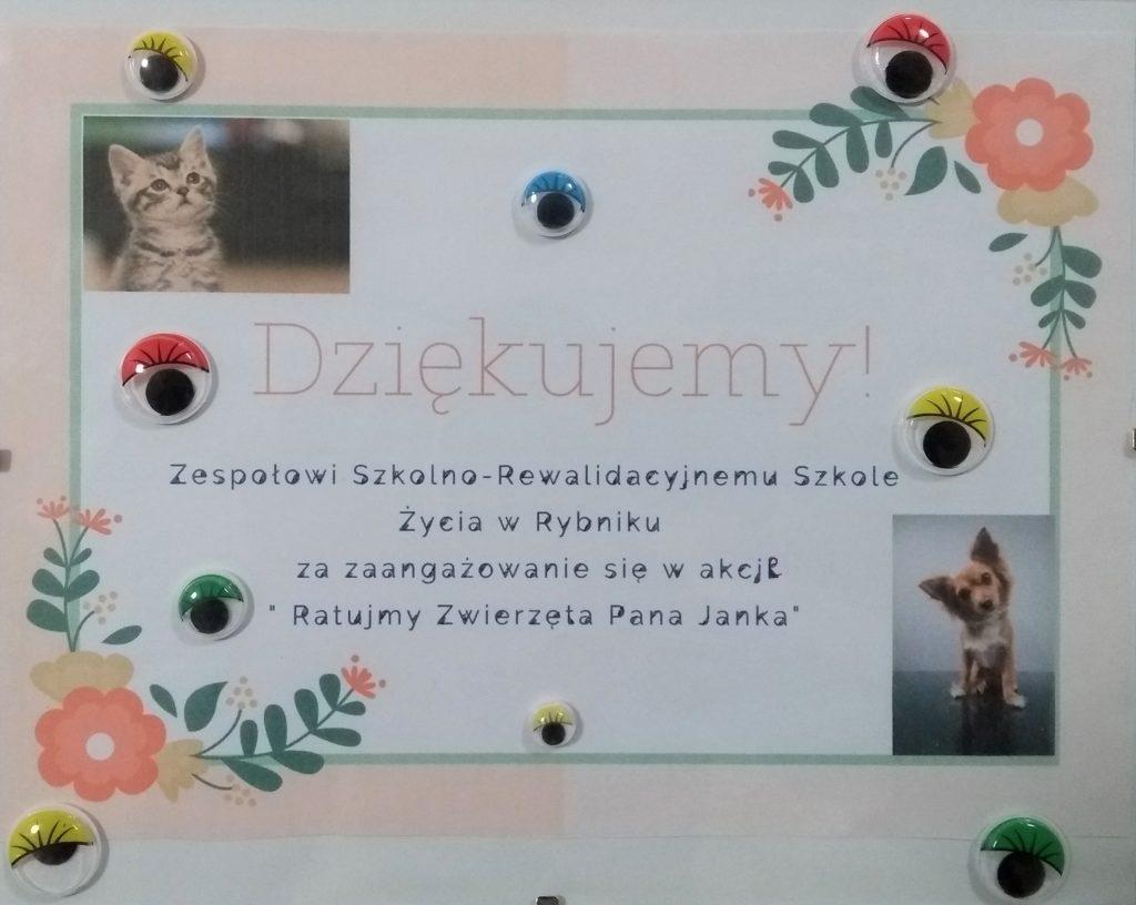 """Podsumowanie akcji """"Ratujmy zwierzęta pana Janka"""""""