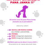"""Plakat informacyjny akcji """"Ratujmy zwierzęta pana Janka""""."""