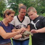 Uczeń głąszczący i obserwujący żółwia trzymanego przez opiekunów.